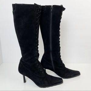 Vintage Stuart Weitzman Suede Heeled Lace up Boots
